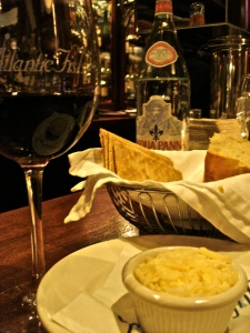 Red wine, bread and cheese at the bar at Atlantic Fish. Thanks, Jeff!
